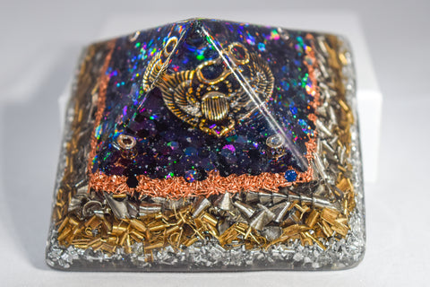 Holographic Black orgone energy pyramid - with silver scarab