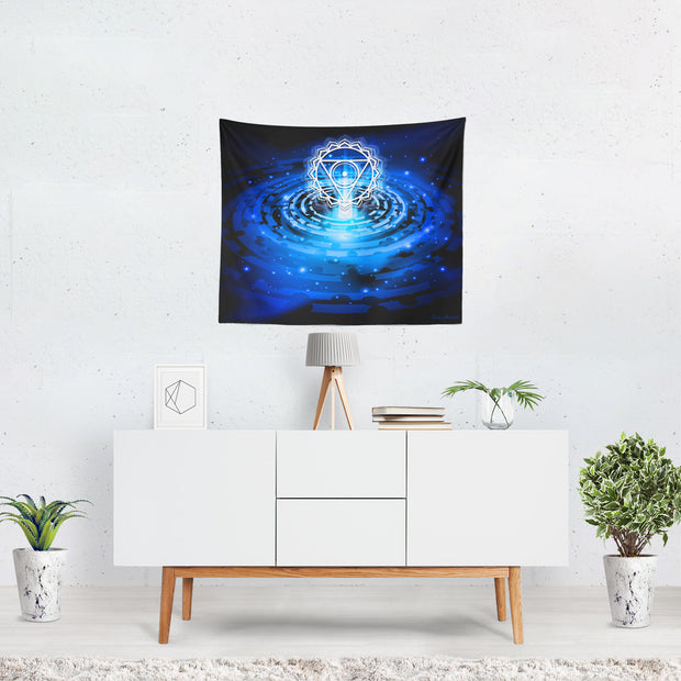 Cosmic Blue Throat Chakra Tapestry - 3 Sizes available Boho wall decor, wall hanging, new age, spiritual art - Version 2.0