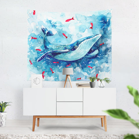 childrens blue watercolor whale wall hanging,