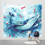 Childrens Blue Whale Watercolor Tapestry - 3 sizes Childrens wall hanging, wall decor, wall art