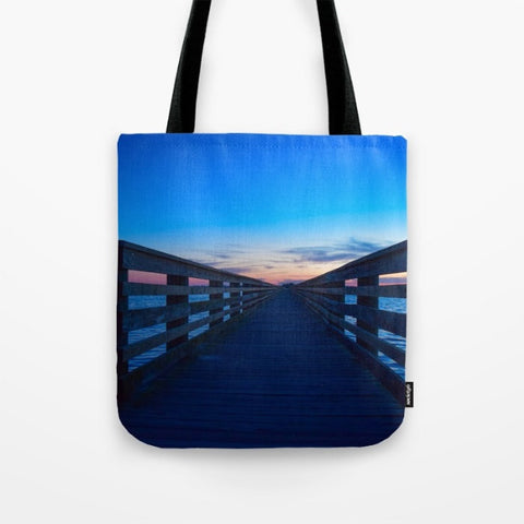 "Sunset on the Pier Tote Bag- 16"" x 16"" - Photographed by Infinity Photography by Cece"
