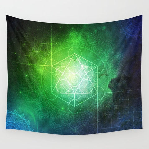 bold green with hits of blue hues with metatron's cube in the center