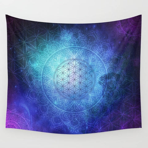 Abstract view of a deep space portal, with hues of teal, blue and purples surrounded by a large flower of life pattern in the center surrounded by a larger mandala in the background.