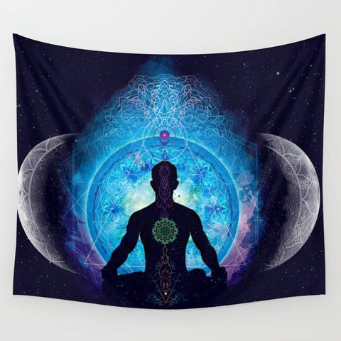 In the center of the tapestry is a silhouette of a man sitting in a meditative position. In the background is a brightly colored blue portal surrounded by 2 half moons on either side.