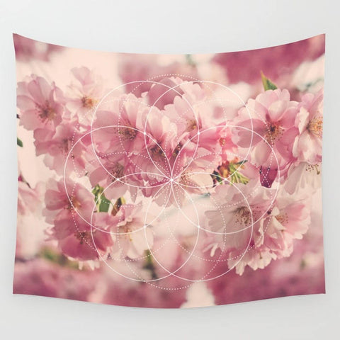 Cherry blossom with Flower of Life Sacred Geometry Tapestry -3 Sizes Available
