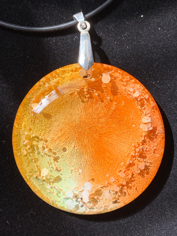 "Resin Alcohol Ink Pendant - ""Volcanic Action"" - Petri Art - Spring 2019"
