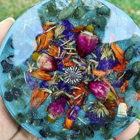 Floral Labradorite Orgone Charging Plate - Orgone Energy - Healing - Zen - EMF Protection - Spring 2019 Collection