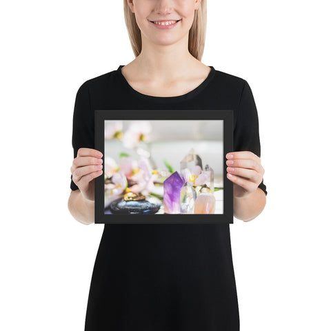 Flowers and Crystals Photography Framed poster