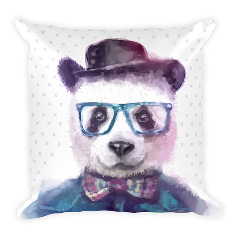 Watercolor Hipster Panda with Bow Tie, Hat and Blue Glasses Square Pillow