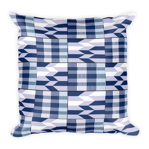 Blue African Kente Pattern Square Pillow - Style 3