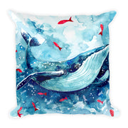 Blue Whale Square Pillow - Double Sided Print