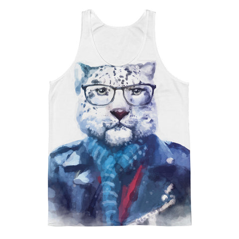 Hipster Watercolor Glasses and Scarf Cat Classic Fit Tank