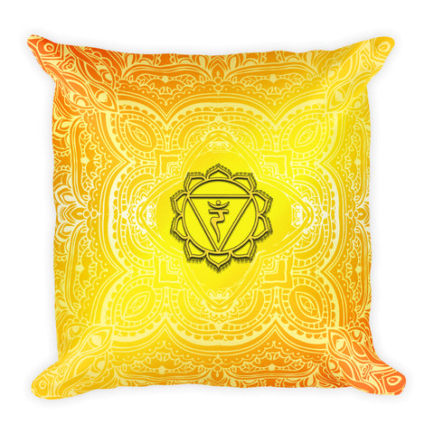 Solar Plexus Third Chakra Mandala Pattern Square Pillow