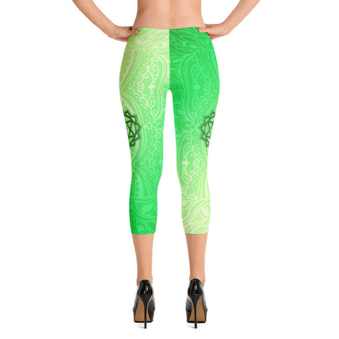 Fourth Green Anahata Heart Chakra Capri Leggings