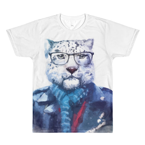 Men's Hipster Watercolor Cat with Glasses and Blue Scarf Crewneck T-shirt Double-sided Print