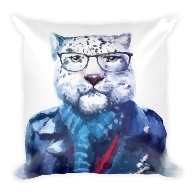 hipster watercolor cat with glasses on a white pillow