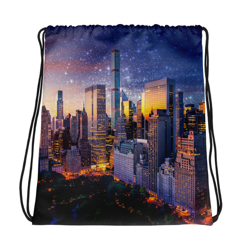 New York City Sunset Drawstring bag