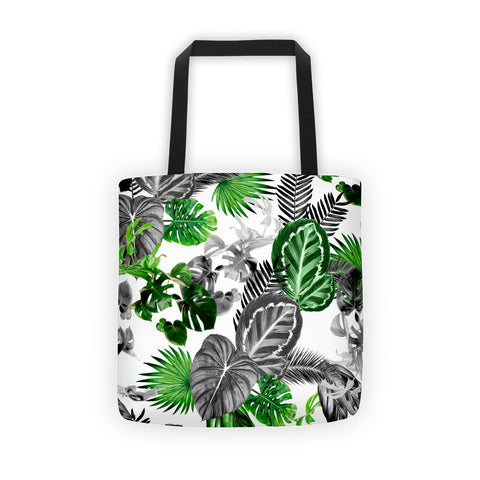 Black and Green Tropical Island Rainforest Safari Jungle Beach Tote Bage
