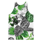 Tropical pattern mens tank top with green, white and gray colors. leaf, pattern, floral, mens, mens clothing, mens fashion Black and Green Tropical Jungle Safari Tank Top