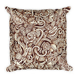 Abstract African Print Square Pillow - Henna