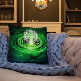 Cosmic Green Heart Chakra Premium Pillow - v2.0