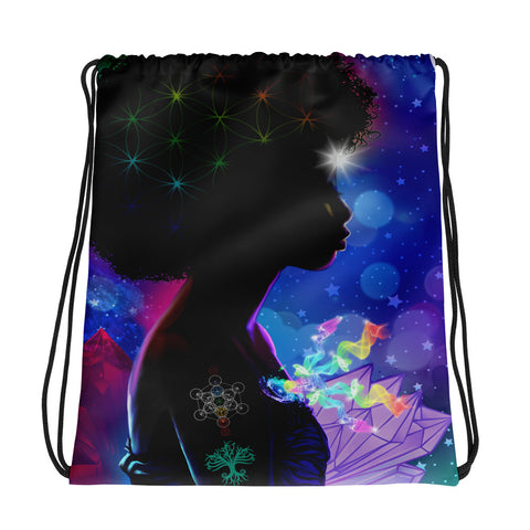 Cosmic Afro Woman Drawstring bag