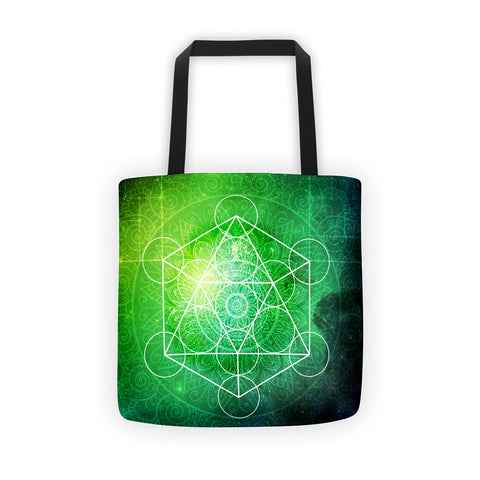 Cosmic Green Metatron's Cube Tote bag