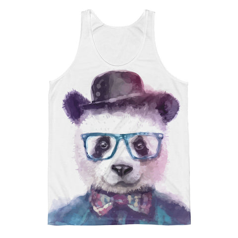 Watercolor Hipster Panda with Bow Tie, Hat and Blue Glasses Classic Fit Tank Top-Man or Woman