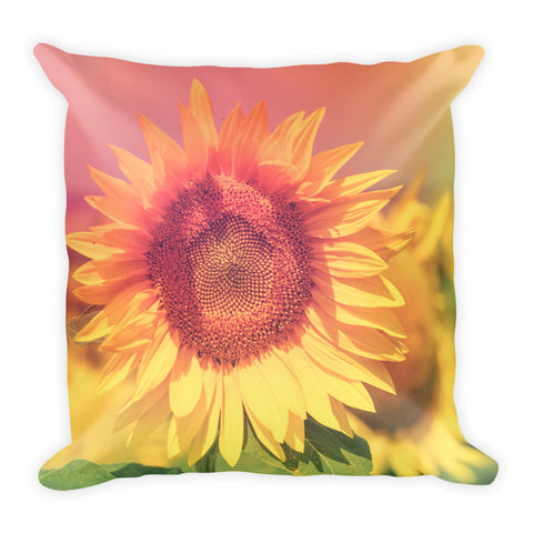 Hazy Summer Sunflower Square Pillow