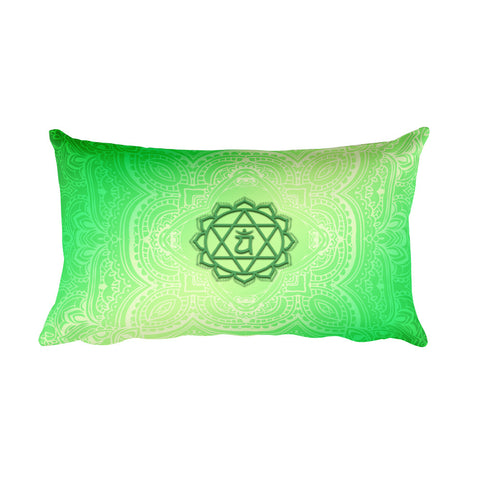 Fourth Green Anahata Heart Chakra Rectangular Pillow