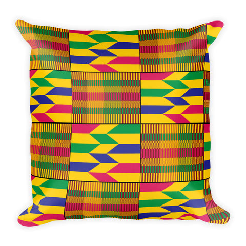 African Kente Pattern Square Pillow - Style 2