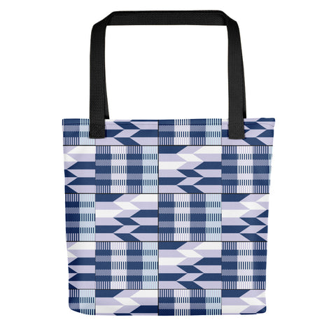 Blue African Kente Pattern Tote bag - Style 3
