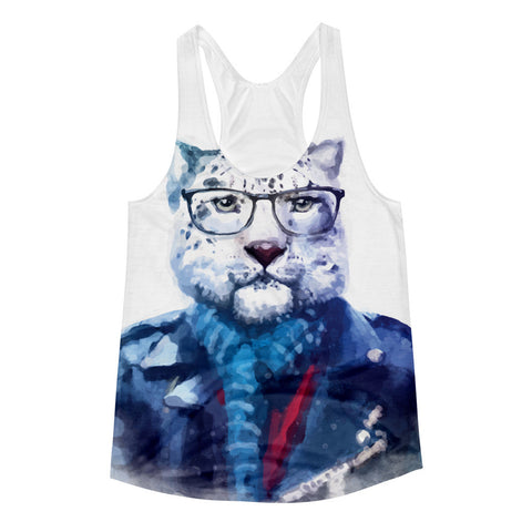 womens racerback tank with hipster cat in a jacket wearing glasses. watercolor, hipster, millennial, cat,