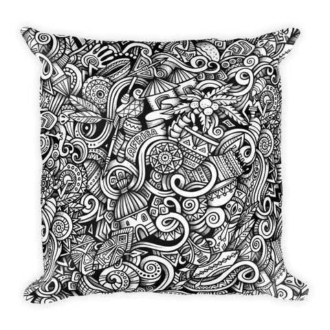 Double sided Print African Doodle Square Pillow - Multi color