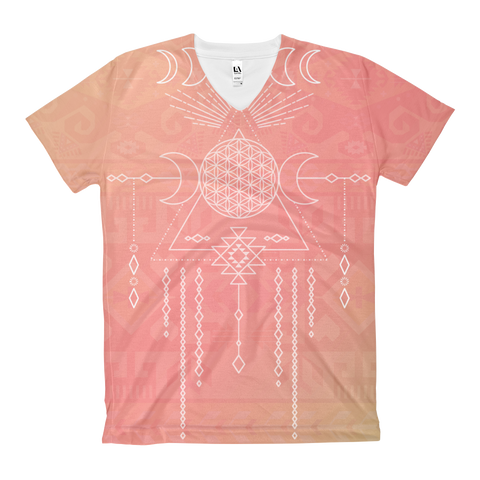 Tribal Moon Goddess Women's V-Neck
