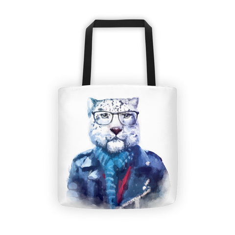 Hipster Watercolor Cat with Glasses and Blue Scarf Tote Bag