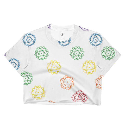 Colorful 7 Chakra Pattern Ladies Crop Top - Single Sided Print - Spiritual Clothing