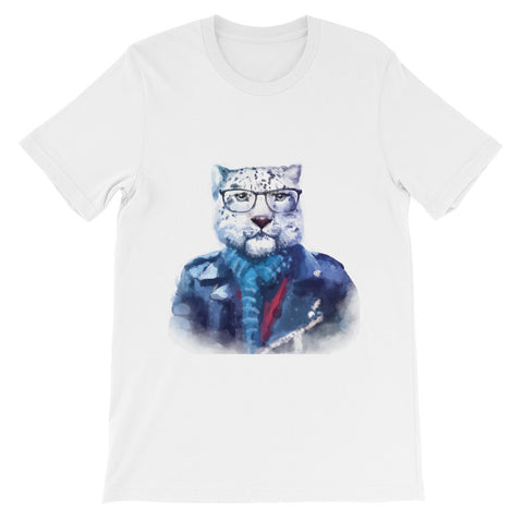 hipster watercolor cat with glasses