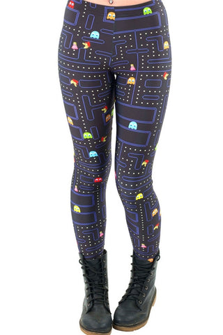 Women Space Print Pants Fitness Legging - Retro Gaming - Packman - Free Shipping