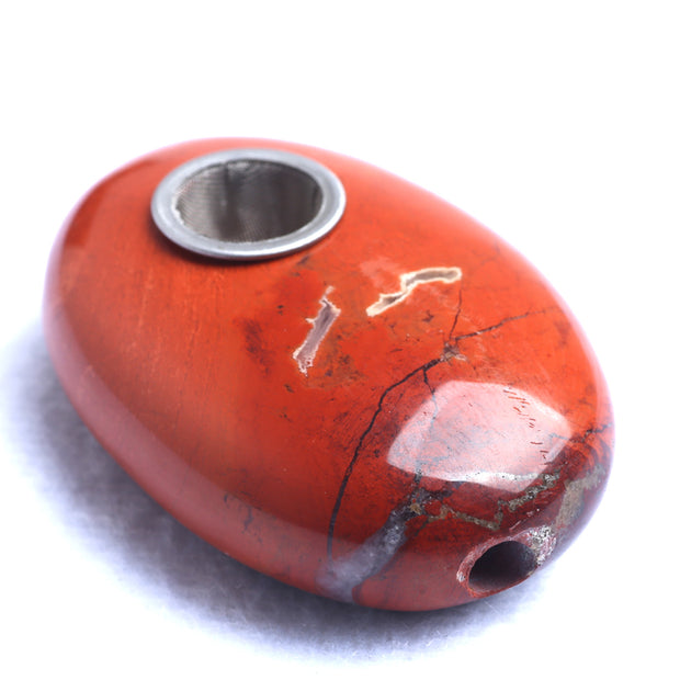 Oval Red Jasper Natural Crystal Gemstone pipe with 3 screens - Free Shipping