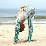Tribal Blue and White Porcelain Printed Womens Yoga Pants