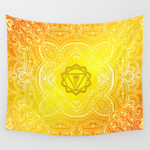 Solar Plexus Chakra Mandala Pattern Tapestry - 3 Sizes