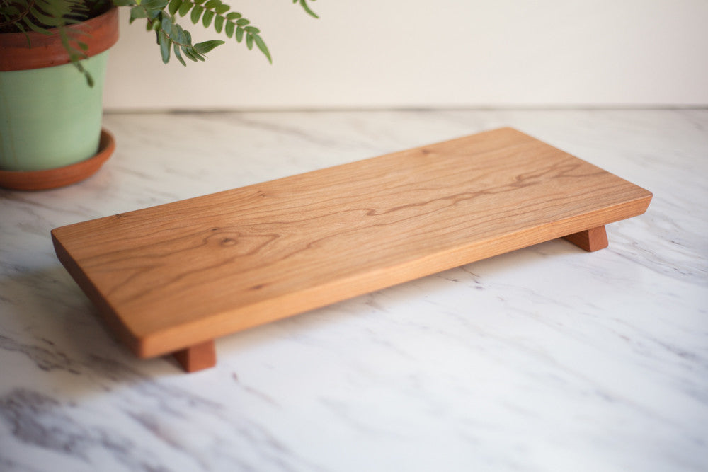 Footed Cherry Wood Serving Board