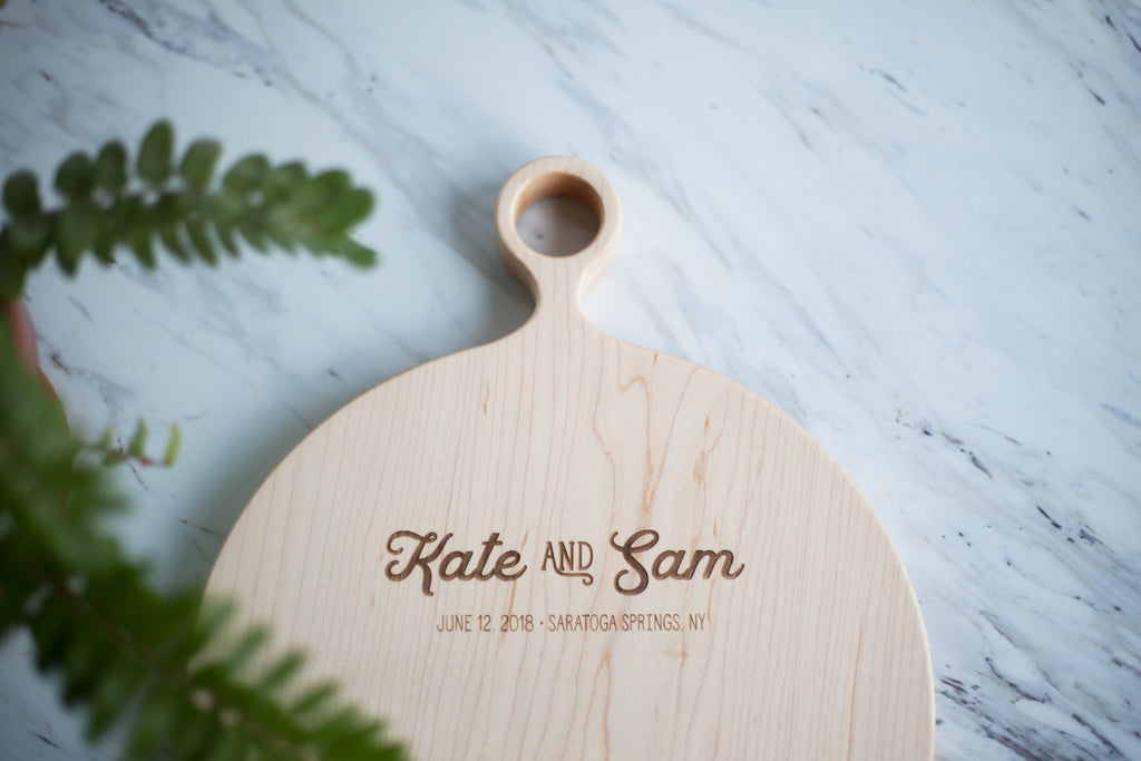 Round Custom Engraved Cutting Board - Wedding Gift