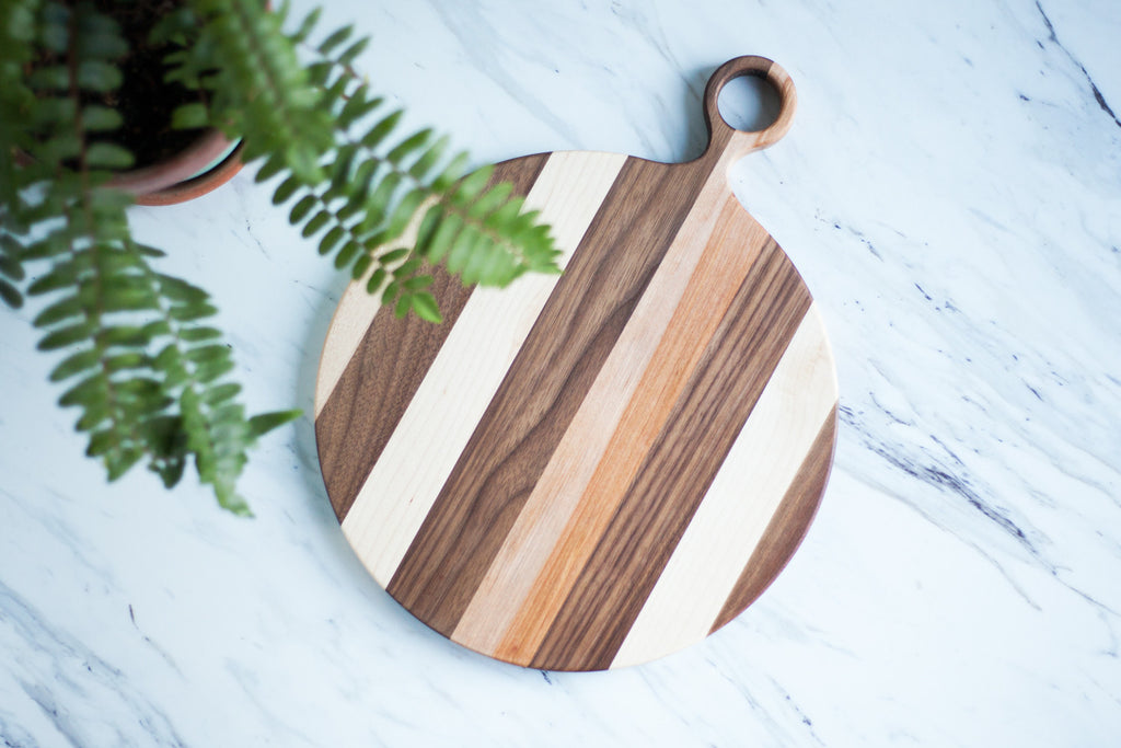 Round Mixed Wood Cutting Board