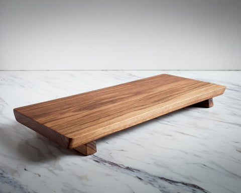 Footed Walnut Wood Serving Board