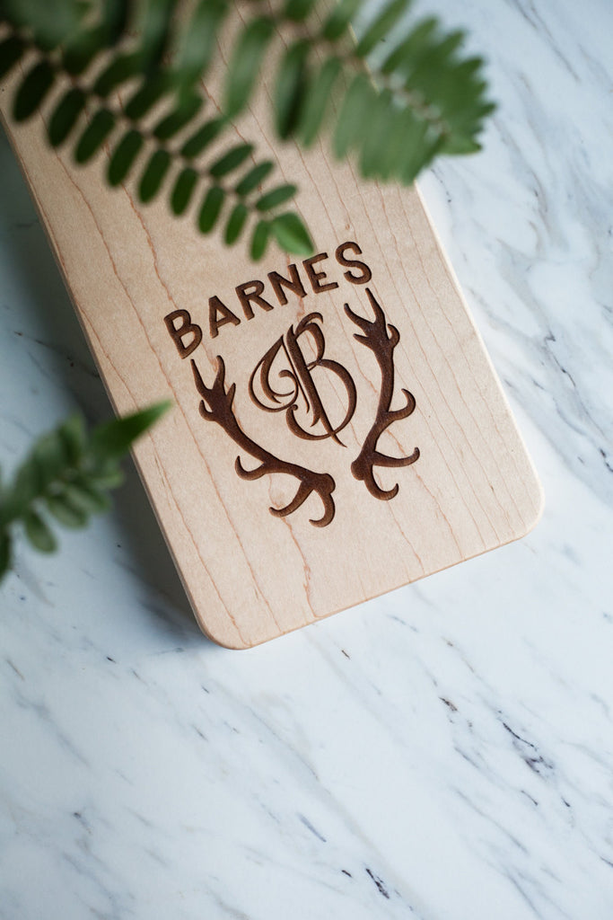 Deer Antler Monogram - (Board Not Included) - Custom Engraved for Cutting Board - Personalized