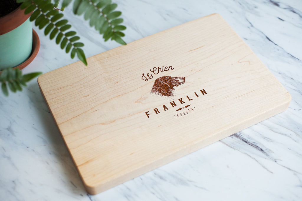 Le Chien - The Dog - Custom Engraved Cutting Board - Maple Cutting Board, Personalized Cutting Board