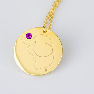 Baby Elephant Necklace with Birthstone