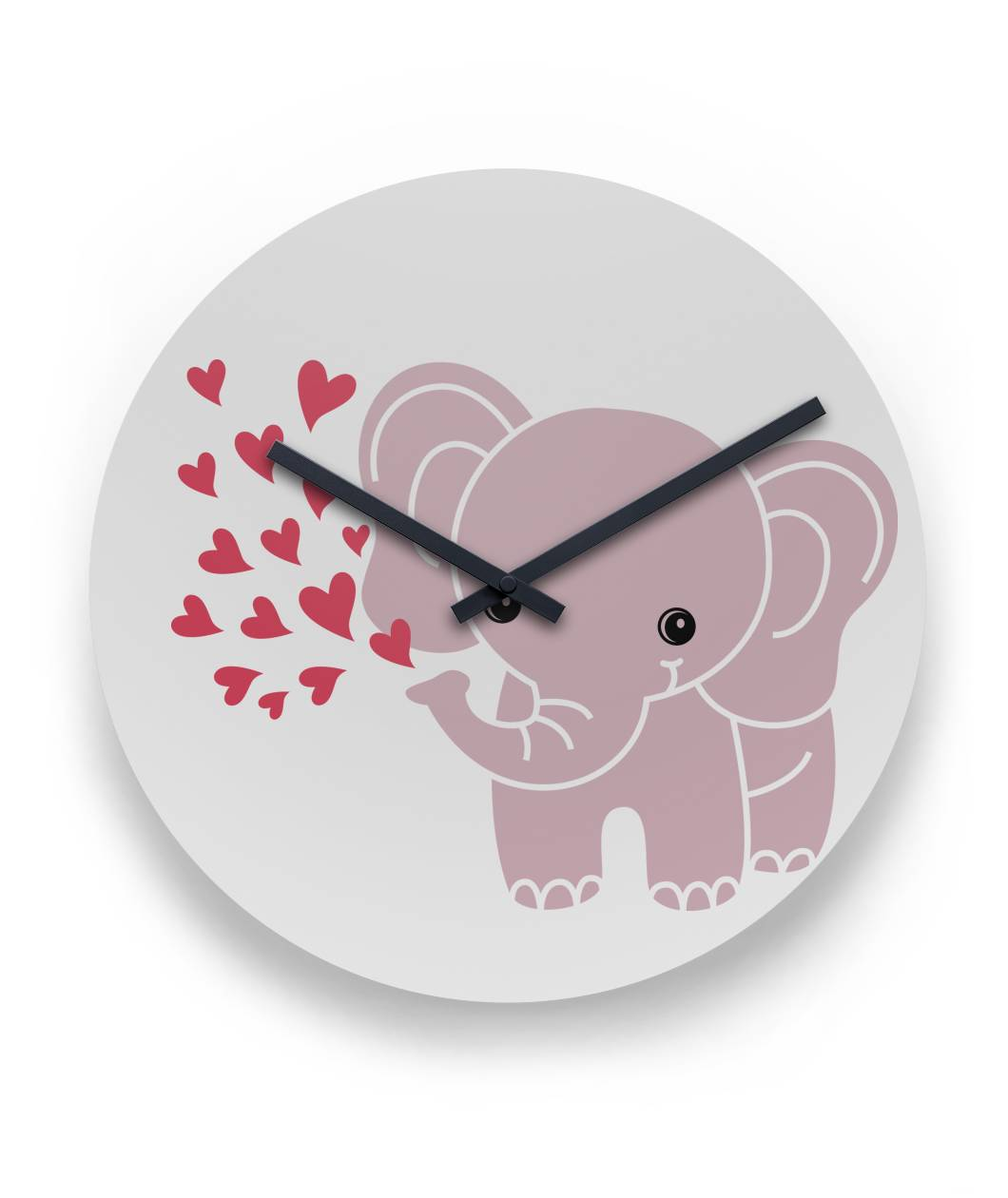 "Baby Elephant Wall Clock with Hearts 11"" Round Wall Clock"